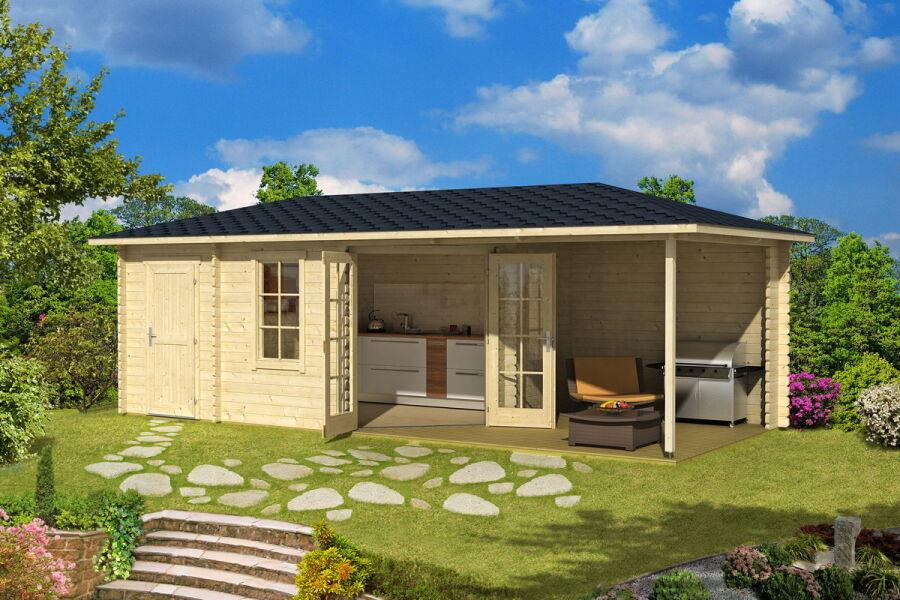 gartenhaus 2 r ume mit veranda 320x750 44mm doppelnut 5. Black Bedroom Furniture Sets. Home Design Ideas