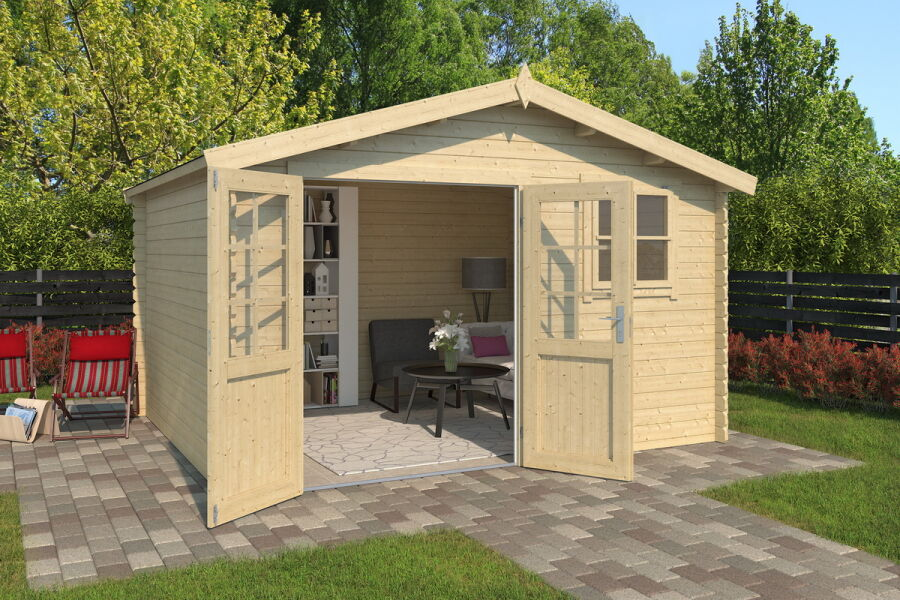 ger tehaus 380x320cm 28mm ohne boden mit dachpappe. Black Bedroom Furniture Sets. Home Design Ideas