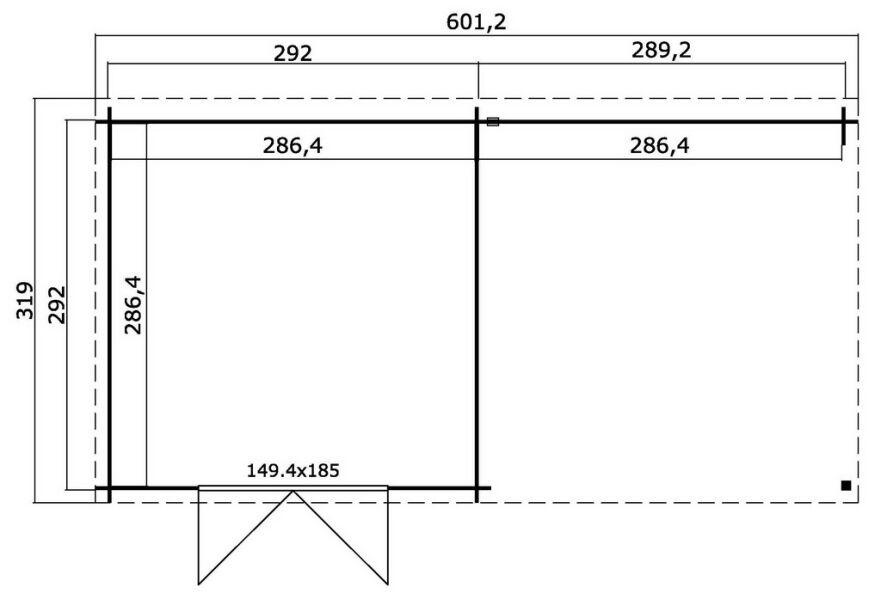 gartenhaus orlando topgarden 2977 sockelmass 292x601 cm 28mm blockb. Black Bedroom Furniture Sets. Home Design Ideas