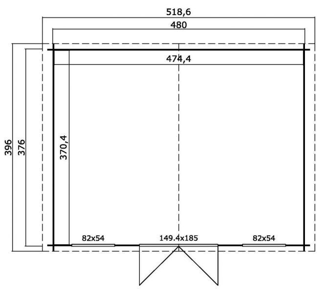 gartenhaus washington topgarden 2886 480x376 cm. Black Bedroom Furniture Sets. Home Design Ideas