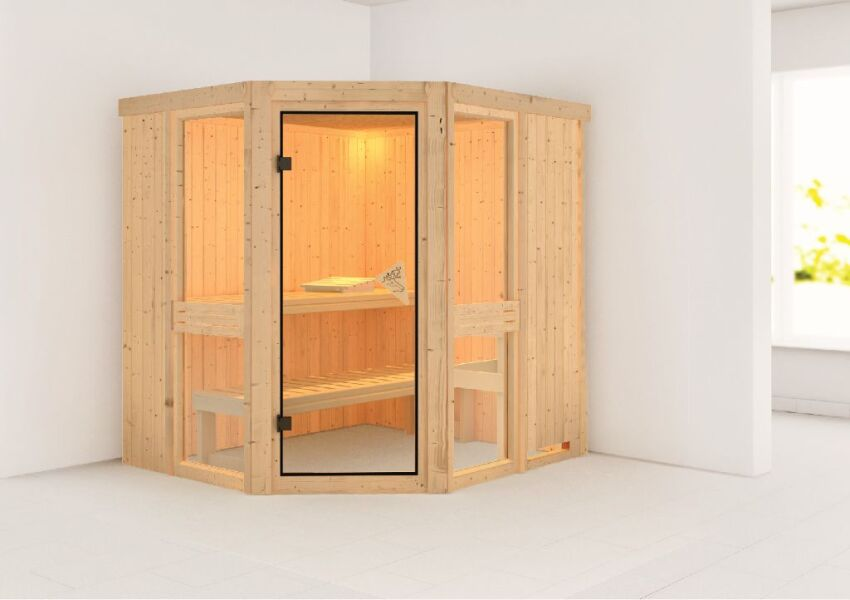 sauna amelia 1 exclusiv 196x170 cm 68mm systemsauna. Black Bedroom Furniture Sets. Home Design Ideas