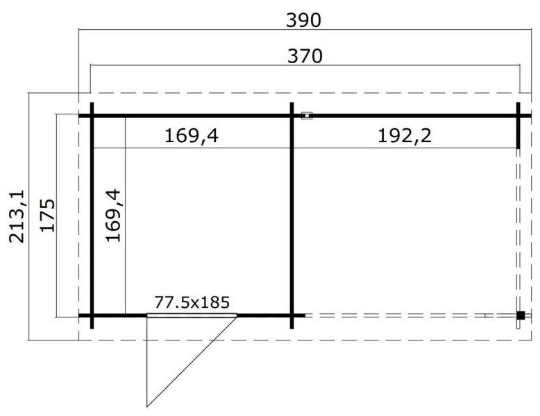 ger tehaus 370x175cm 28mm 200cm schleppdach mit dachpappe 959 00. Black Bedroom Furniture Sets. Home Design Ideas