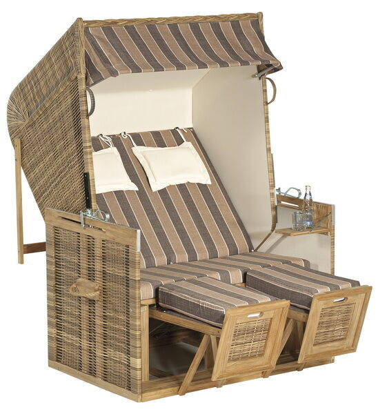 strandkorb volllieger rustikal 150 z teak kunststoffgeflecht natura a. Black Bedroom Furniture Sets. Home Design Ideas