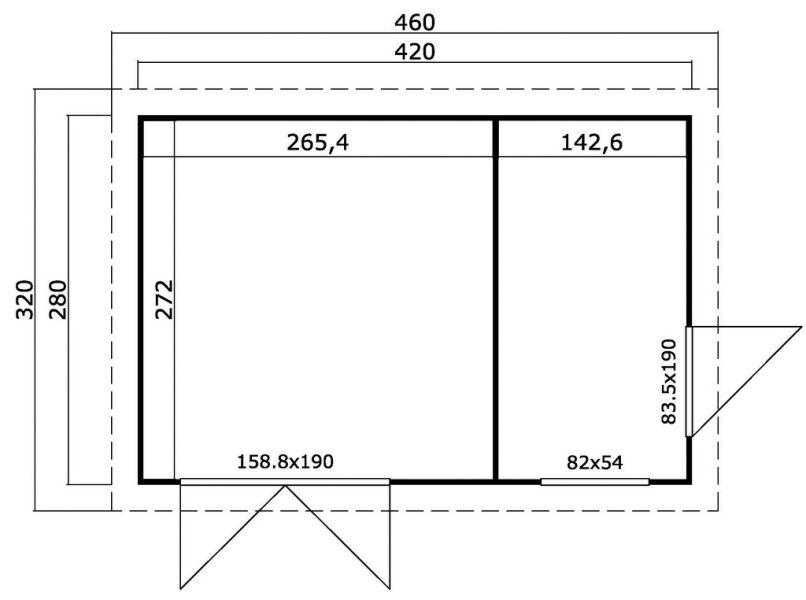 gartenhaus samuel flachdach 440x300 cm 40mm doppelnut 2. Black Bedroom Furniture Sets. Home Design Ideas