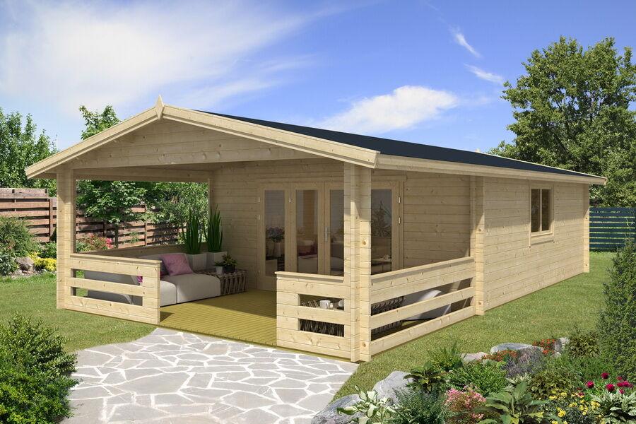 blockhaus 5x6m 3m terrasse 45mm iso premium mit boden. Black Bedroom Furniture Sets. Home Design Ideas