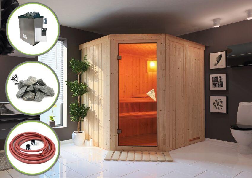 karibu sauna siirin 196x170 cm inkl 9 kw ofen ext strg aktion 1 3. Black Bedroom Furniture Sets. Home Design Ideas