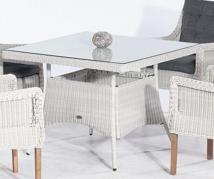 Gartentisch 100x100 Cm.Gartentisch Midland Alu Kunststoffgeflecht Silber Grau