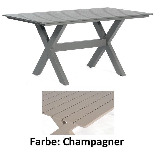 Sunny Smart Gartentisch Topas Aluminium Pulverbeschichtet Champagner