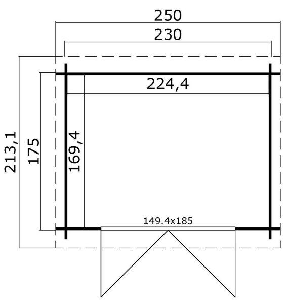 gartenhaus indi 175 230 x 175 cm 28 mm blockbohlen inkl dachpappe. Black Bedroom Furniture Sets. Home Design Ideas