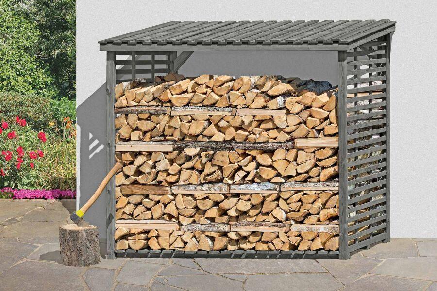 kaminholzregal kaminholzunterstand flammo xl grau 149 00. Black Bedroom Furniture Sets. Home Design Ideas